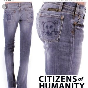 Rare Citizens of Humanity Skull/Bunny Pocket Jeans